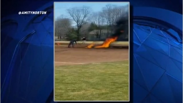 Baseball field doused in gasoline, set on fire in attempt to dry it quicker