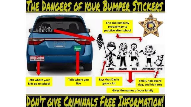 Police issue warning over giving out too much information on bumper stickers