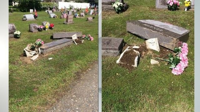 Gravestone damaged at Mayfield Cemetery