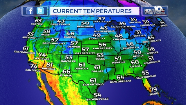 Today National Weather Map.Map Center News10 Abc